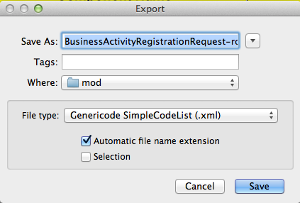 Export a Genericode file