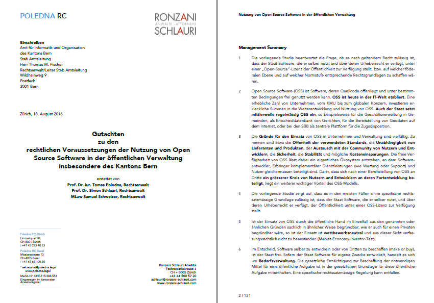 The first two pages of the Swiss legal study