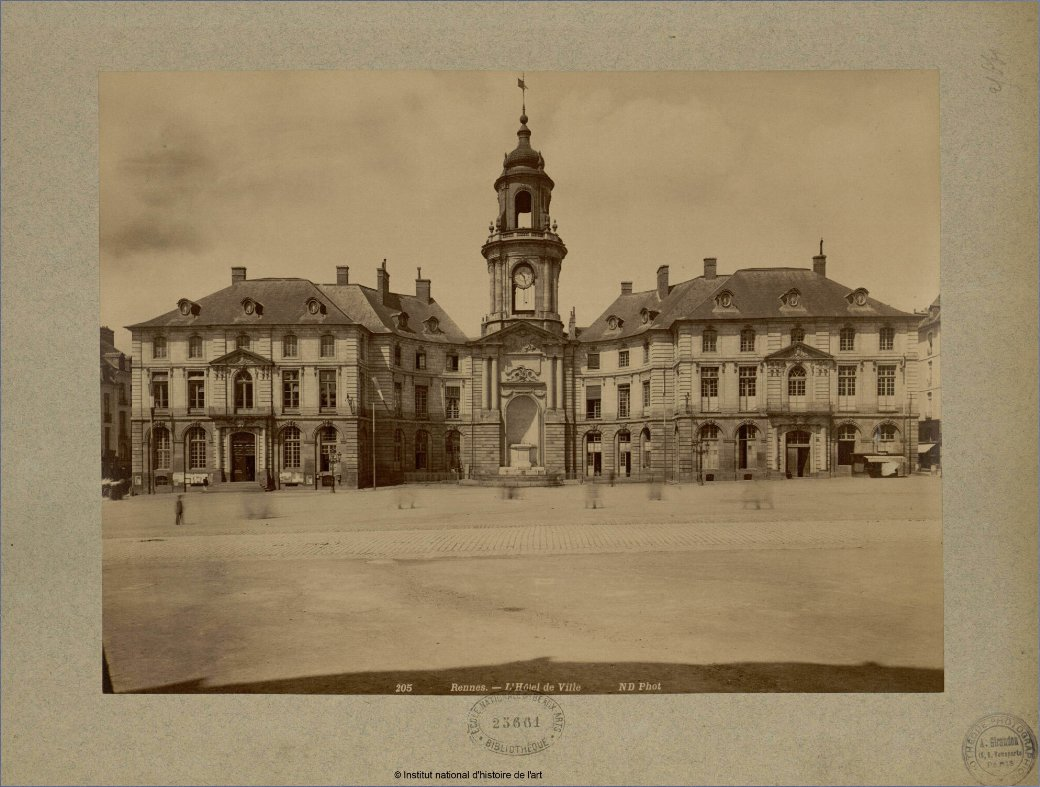 Rennes Hotel de Ville - image by Neurdein, Étienne. Image is public domain marked
