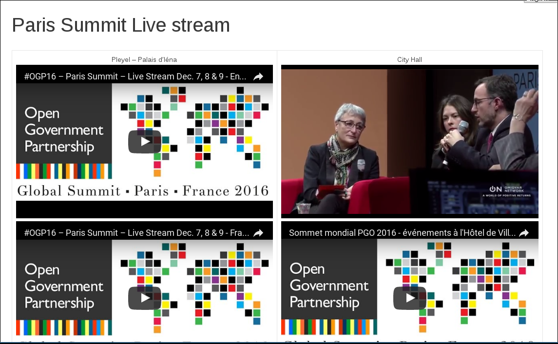 The livestream from the OGP summit in Paris