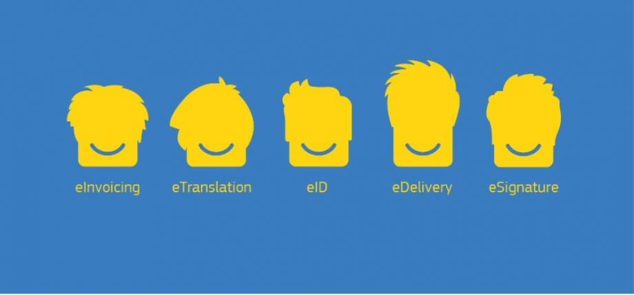 This blue image shows several yellow smileys, each with a different hairstyle