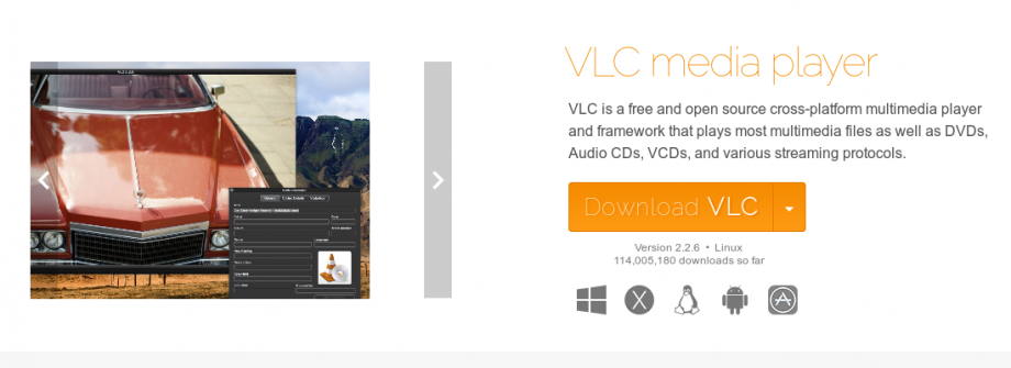 Screenshot take from the VLC website