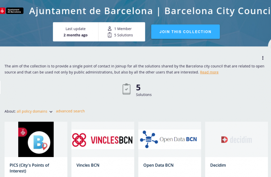 Screenshot of the Barcelona collection on Joinup
