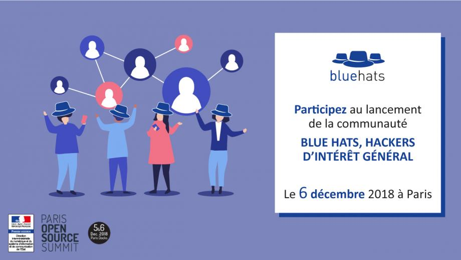 This image was used by Dinsic to announce the event in Paris, it includes that text and a drawing of 4 people wearing blue hats