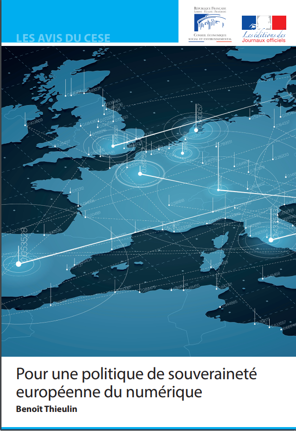 The image shows the cover of the report: The European Digital Sovereignty Policy, a report by France's Economic, Social and Environmental Council (ESEC).