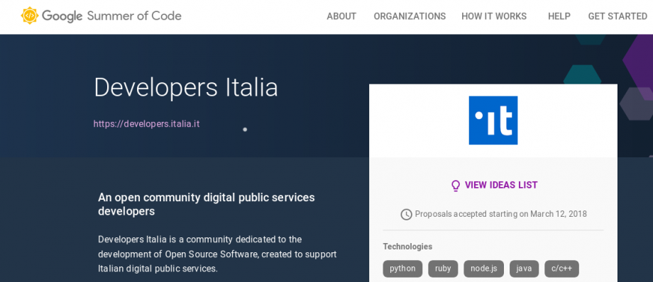 Showing the Developers Italia webpage on Google Summer of Code