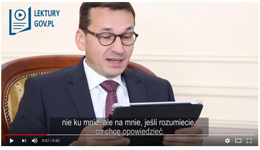 A link to a youtube video showing Poland's newly appointed Prime Minister Mateusz Morawiecki and the ministry of Digitisation Anna Streżyńska were recorded on video reading Joseph Conrad's 'Lord Jim'.