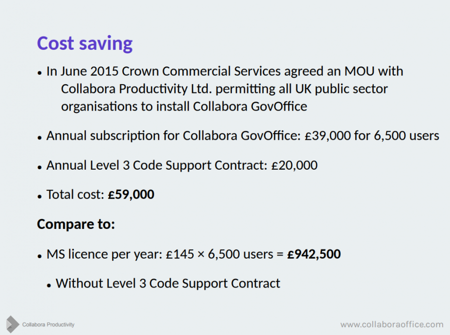 A screenshot from the presentation - showing a significant price difference between propriety and open source office suites