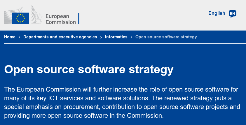 A screenshot of the website of the EC, showing its open source strategy (in so many words).