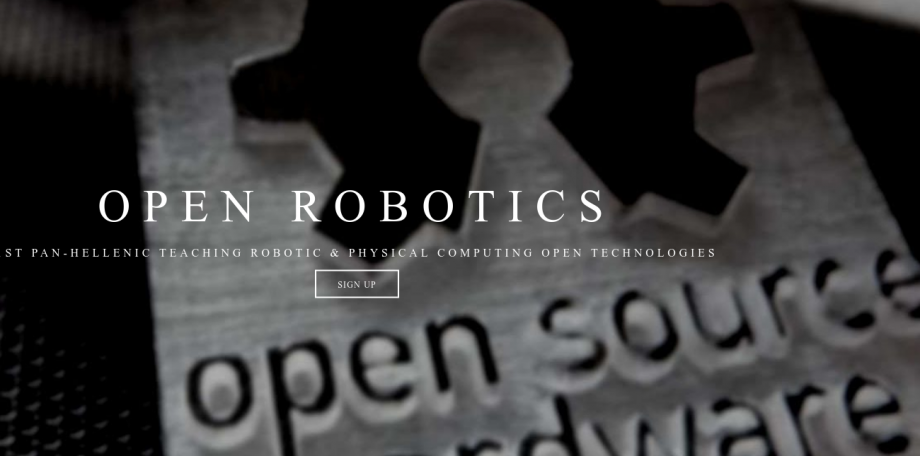 Part of the robotics website, showing the words open source hardware
