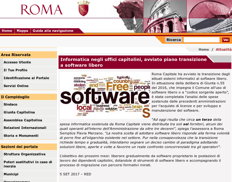 The announcement on the website of the city of Rome