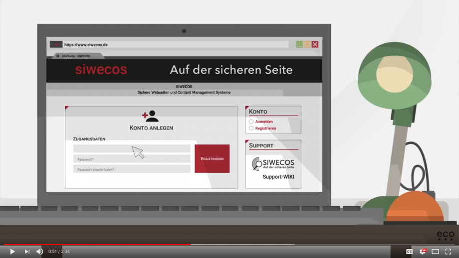The screenshot from the Youtube introduction shows a (cartoon-like) representation of the Siwecos vulnerability scan on a computer, with a desk lamp on the right