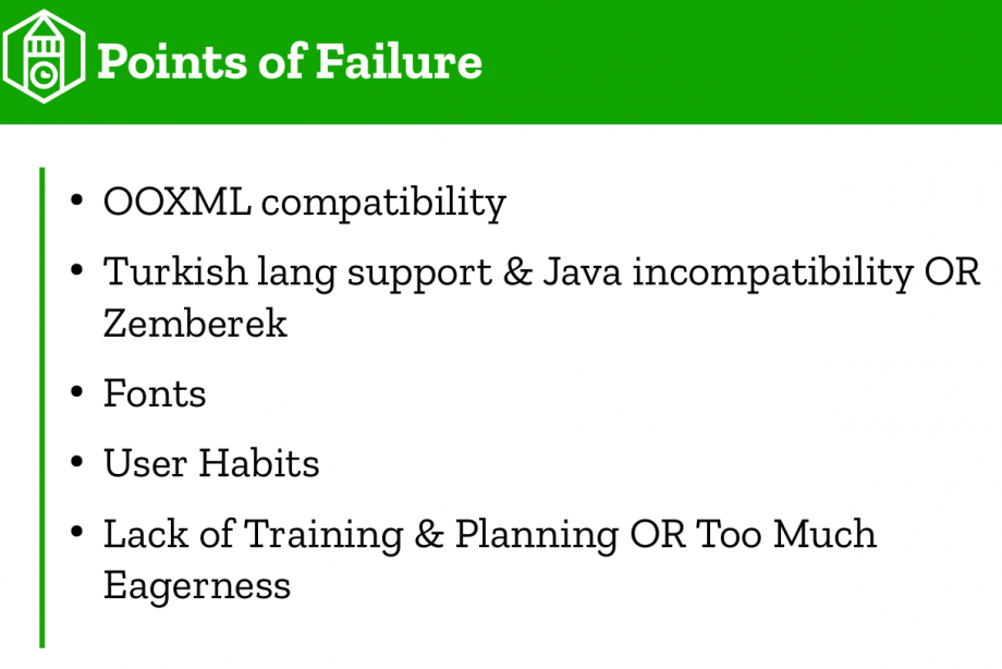 A slide from the presentation by Muhammet Kara at the LibreOffice conference in Tiran. listing some of the problems in switching to LibreOffice