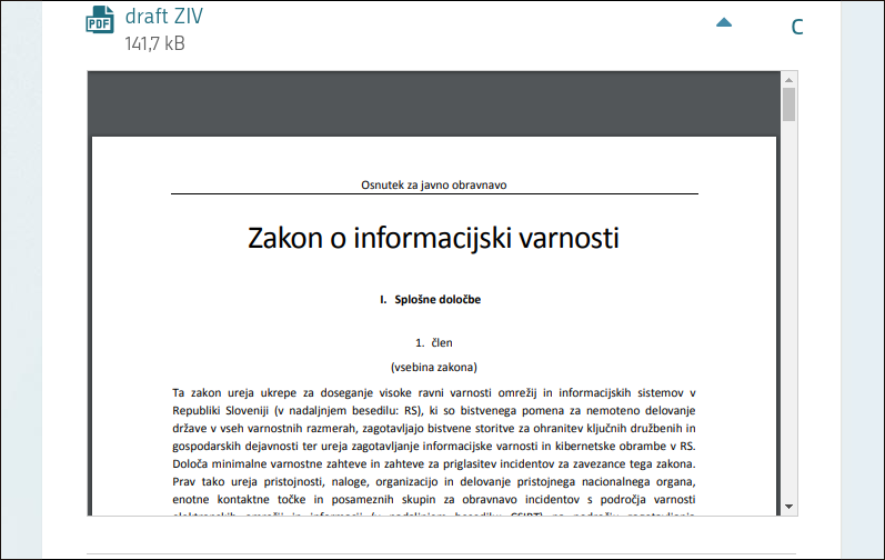 Screenshot showing the new law on ICT security